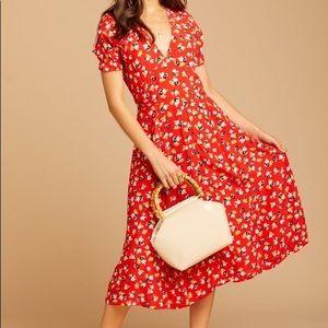 NWOT Faithfull Ari Midi Dress Red Jasmine Floral